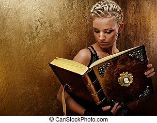 stoom, punker, meisje, met, een, boek