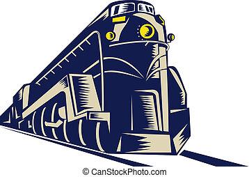 stoom trein, locomotief, komst, naar, de, kijker, binnen...