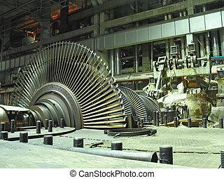 stoom, turbine, gedurende, herstelling, de scène van de...