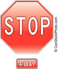 Stop 4 Way - an illustration of an American traffic sign