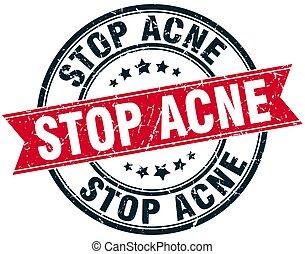 stop acne round grunge ribbon stamp