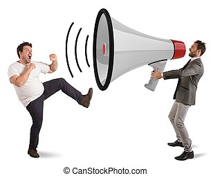 Stop ads - Angry man fights to a big megaphone