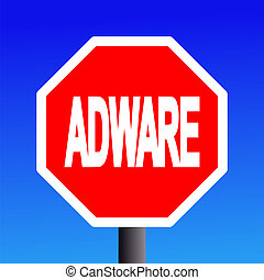 stop Adware sign on blue sky illustration