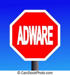stop Adware sign on blue sky illustration