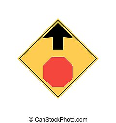 STOP AHEAD Road Sign Warning