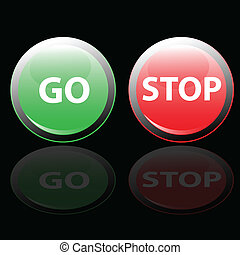 stop and go button vector illustration