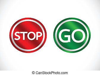 Stop and Go sign in illustration