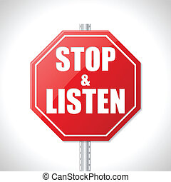 Stop and listen traffic sign on white