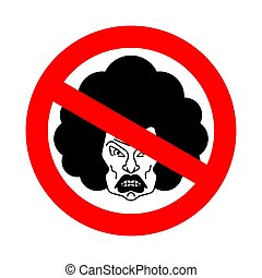 Stop angry wife. Ban grumpy woman. Red forbidding road sign...