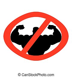 Stop athlete. Ban bodybuilding. Prohibited fitness. Red Circle road sign