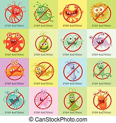 Stop Bacteria Cartoon Vector Illustration No Virus