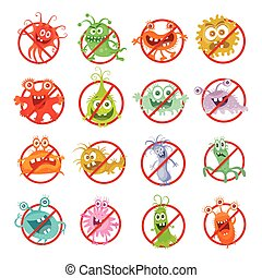 Stop Bacteria Cartoon Vector Illustration No Virus - Stop...