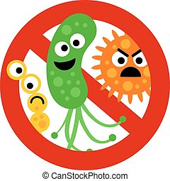 Stop bacterium sign with cute 3 cartoon gems