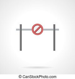 Stop barrier with sign flat color vector icon