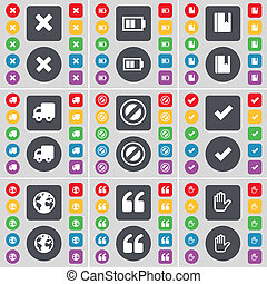 Stop, Battery, Marker, Truck, Stop, Tick, Earth, Quotation mark, Hand icon symbol. A large set of flat, colored buttons for your design.