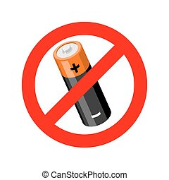 Stop battery. Prohibited accumulator road sign. Ban icon