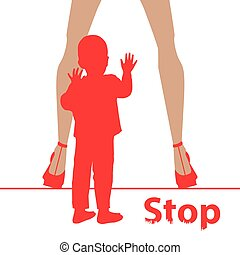 Stop before sex parenting. Danger concept