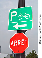 Stop, bicycle parking sign