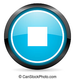 stop blue glossy circle icon on white background