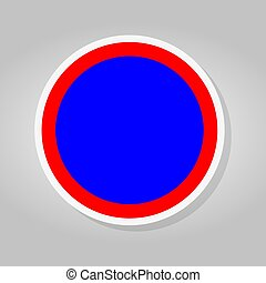 Stop Blue Red Circle Sign Isolate On White Background, Vector Illustration