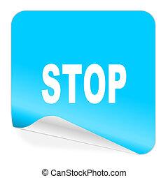 stop blue sticker icon