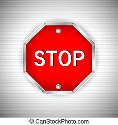 illustration of stop board on metal texture background