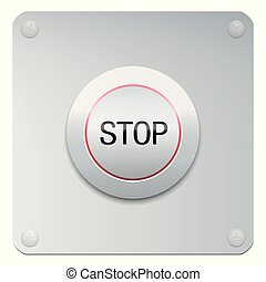 Stop Button Emergency Panic - Stop button on a chrome panel...