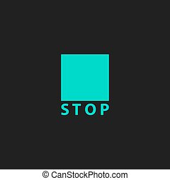 Stop button vector icon. Flat design style - Stop button....