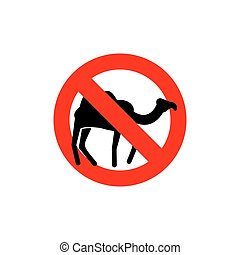 Stop camel. Prohibited animal of desert. Red forbidding...