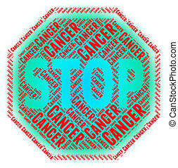 Stop Cancer Showing Malignant Growth And Forbidden