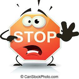 stop, caractère, route, icône