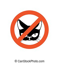 Stop cat. Pet forbidden. Frozen silhouette cat head. Emblem...