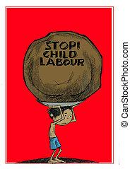 stop child labour - a child carry a big load