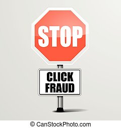 Stop Click Fraud - detailed illustration of a red stop click...