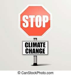 detailed illustration of a red stop Climate Change sign, eps10 vector