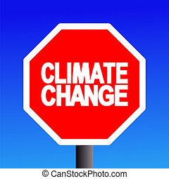 stop Climate change sign on blue sky illustration