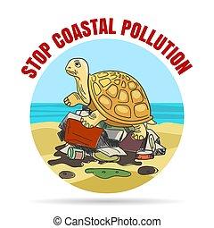 Stop Coastial Pollution Ecology Emblem