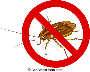 Stop Cockroach sign. Vector illustration.