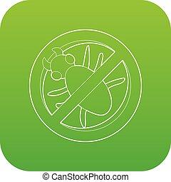 Stop computer virus sign icon green vector