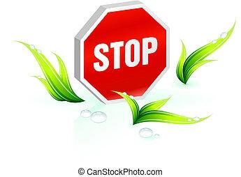 stop, conservation environnementale, arrière-plan vert