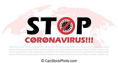 Stop coronavirus background with world map. Vector illustration