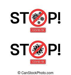 Stop Coronavirus Covid-19 2019-nCoV vector stop signs.