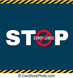 Stop Coronavirus COVID-2019 on blue background. Virus 2019-nCoV cells.