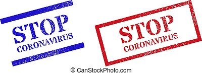 STOP CORONAVIRUS Grunge Scratched Stamp Seals with Rectangle Frame