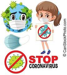 Stop coronavirus logo with earth wearing mask cartoon character and girl holding stop coronavirus sign