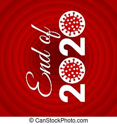 Print with Zero Symbol as COVID-19 Virus-Cell Icon End of 2020. Isolated Illustration - Covid Coronavirus Concept
