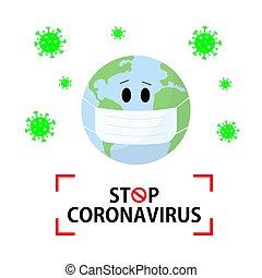Stop coronavirus vector content. Earth planet in a medical face mask on a white background