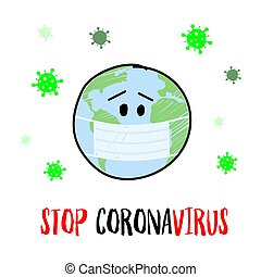 Stop coronavirus vector content. Hand drawn earth planet in a medical face mask