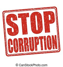 Stop corruption grunge stamp