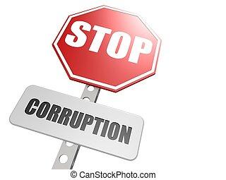 Stop corruption road sign - Hi-res original 3d-rendered...